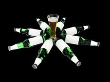 Free Beer Bottles With Blank Labels And Beer In Glass Stock Image - 6690541
