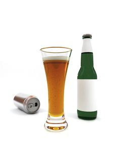 Beer In Glass And Beer Bottle With Blank Label Royalty Free Stock Photo