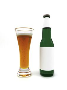 Free Beer In Glass And Beer Bottle With Blank Label Royalty Free Stock Photography - 6690557