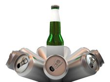 Beer Bottle With Blank Label And Aluminum Banks Stock Photography