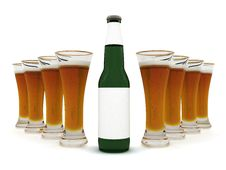 Free Beer In Glass And Beer Bottle With Blank Label Royalty Free Stock Photography - 6690577