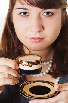 Free Woman Is Holding A Coffee Cup Royalty Free Stock Photo - 6690825