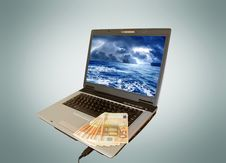 Laptop And Money Stock Images