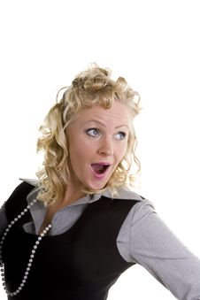 Free Curly Blonde Looking Surprised Royalty Free Stock Photography - 6691817