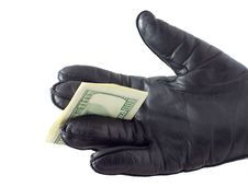 Free Hand In Glove Give Dollars Royalty Free Stock Photography - 6692957