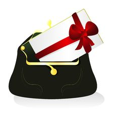 Purse And Card About A Bow Royalty Free Stock Images