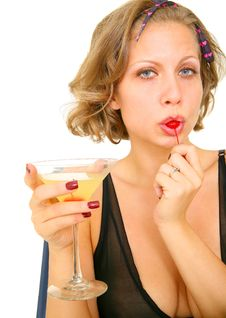 Free Pin Up Girl Eating Cherry Royalty Free Stock Photos - 6694228