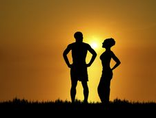 Free Couple At Sunset Royalty Free Stock Image - 6694586
