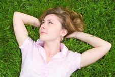 Free Woman Rest On The Grass Stock Photos - 6694833