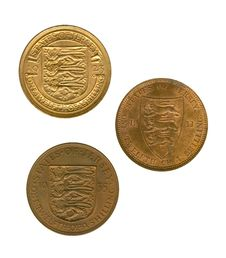 Free Three Gold Jersey Coins Royalty Free Stock Photos - 6695628