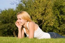 Free Woman Rest On The Green Summer Grass Royalty Free Stock Photo - 6695715