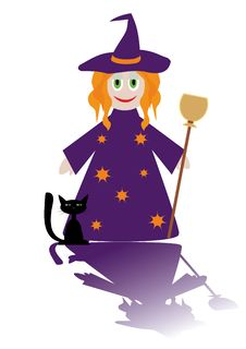 Cartoon Figure Of Little Witch Royalty Free Stock Photos