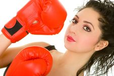 Free Pretty Woman With Red Boxing Glove Stock Images - 6696404