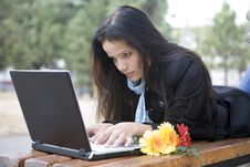 Free Girl With Laptop In Park Stock Photos - 6696413