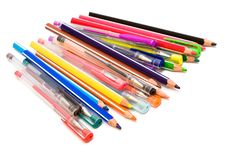 Color Pencils And Pens Royalty Free Stock Image