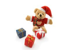 Free Teddy Bear And  Gift Boxes Royalty Free Stock Photos - 6696778