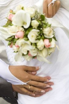 Free Ring & Hands Over White And Flowers Stock Photo - 6696970