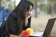 Free Girl With Laptop In Park Royalty Free Stock Photography - 6697047