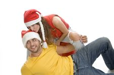 Lady Kissing On Man S Head Stock Image