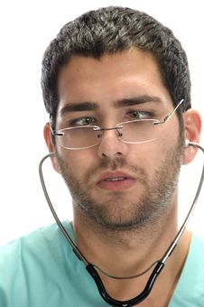 Free Doctor With Stethoscope In His Ears Looking Squint Royalty Free Stock Image - 6698056