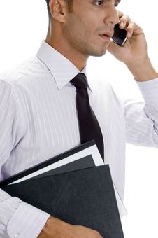 Adult American Businessman Busy On Phone Call Royalty Free Stock Photos