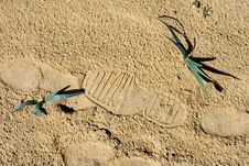 Footprints In The Sand On A Spanish Beach Royalty Free Stock Photography