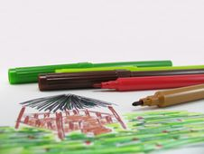 Free Coloured Ink Pens Stock Photography - 673682
