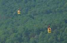 Free Cable Car Above A Wood Stock Image - 675391