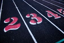 Track & Field Lanes Two, Three,and Four Stock Image