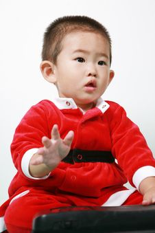 Chinese Santa Boy Royalty Free Stock Photo