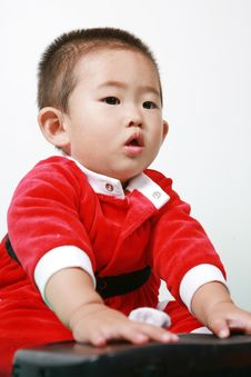 Chinese Santa Boy Stock Image