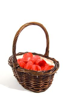 Free Wicker Basket Filled With Red Rose Peddles Royalty Free Stock Image - 6700956