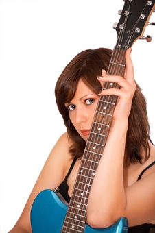 Young Beautiful Woman With Guitar Royalty Free Stock Images