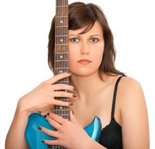 Young Beautiful Woman With Guitar Stock Image