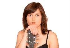Young Beautiful Woman With Guitar Royalty Free Stock Photo