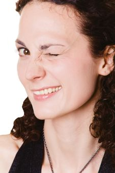 Free Young Woman Winking With One Eye Stock Image - 6701831
