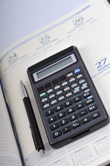 Free Agenda, Pen And Calculator Stock Image - 6702121