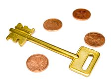 Free Key With EURO And Coins Stock Photography - 6702262