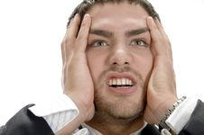 Frustrated Young Businessman Royalty Free Stock Images