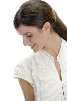 Charming Lady Looking Down Stock Image