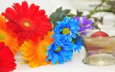 Free Colorful Flowers Bunch And Candle Royalty Free Stock Photo - 6702995