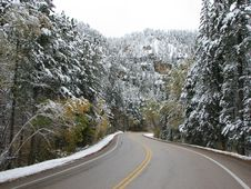 Free Driven Threw Spearfish Canyon - Winter Stock Image - 6704191