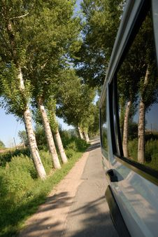 Driving On The Country Road Royalty Free Stock Photos