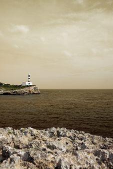 Free Portocolom Lighthouse, Mallorca, Havana Toned Royalty Free Stock Photography - 6705337
