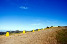 Yellow Posts In Madeira Mountains Royalty Free Stock Image