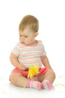 Free Sitting Small Baby With Yellow Flower 9 Stock Photos - 6706333