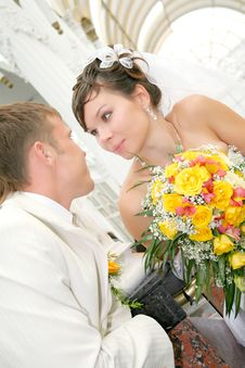 Newly Married Together In A Photo Pose Royalty Free Stock Photography