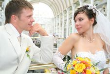 Newly Married Together In A Photo Pose Royalty Free Stock Photo
