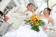 Newly Married Together In A Photo Pose Stock Photo