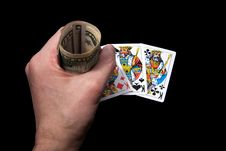 Cards And Money In Hand Royalty Free Stock Images